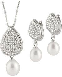 Splendid - Micropave Fancy Cz & Pearl Pendant And Earring Set - Lyst