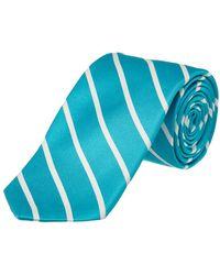 Ike Behar - Aqua Sunday Stripe Silk Tie - Lyst