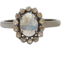 Adornia | Labradorite And Champagne Diamond Genevieve Ring | Lyst