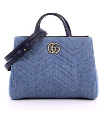 b2eb26c52b73c2 Gucci - Pre Owned Pearly GG Marmont Tote Matelasse Denim Small - Lyst