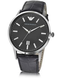 Emporio Armani - Men's Black Steel Watch - Lyst