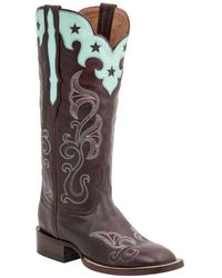 Lucchese - Women's Scallop Top Star Leather Western Boot - Lyst