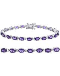 Amanda Rose Collection - Gemstone Tennis Bracelet In Sterling Silver Choose From Amethyst, Blue Topaz Or Peridot - Lyst