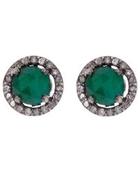 Adornia - Emerald And Champagne Diamond 5mm Echo Halo Stud Earrings - Lyst
