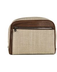 Brunello Cucinelli - Mens Brown Leather Canvas Wash Bag - Lyst