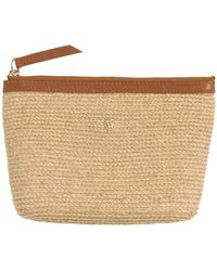 Helen Kaminski - Pochette Raffia & Leather Clutch - Lyst