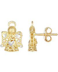Jewelry Affairs - 14k 2 Tone Gold Angel Stud Earrings - Lyst