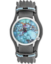 Boum - Originaire Marbleizied-dial Leather-band Watch With Fringed Sheath - Lyst
