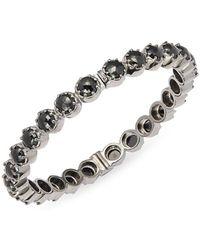 Bavna - Black Spinel & Silver Hinged Bracelet - Lyst