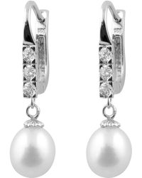 Splendid - Sterling Silver Rhodium Plated Leverback Earrings With White Freshwater Pearls And Cz - Lyst