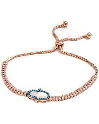Barzel - 18k Rose Gold Plated Sterling Silver Clear And Blue Cz Hamsa Friendship Bolo Adjustable Bracelet - Lyst
