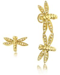 Bernard Delettrez - Dragonflies 18k Gold Earrings W/diamonds - Lyst