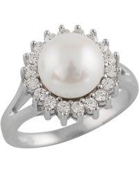 Splendid - Halo Cz Pearl Ring - Lyst