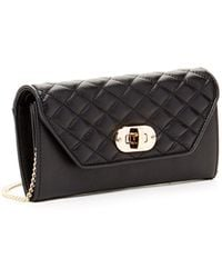 Susu - 'faye' Quilted Envelope Clutch Crossbody Leather Wallet Black - Lyst