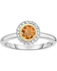 Jewelry Affairs - 18k Gold And Sterling Silver Citrine Fancy Ring - Lyst