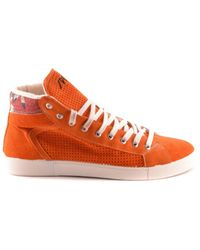Springa - Men's Orange Suede Hi Top Sneakers - Lyst