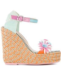 Sophia Webster - Women's Light Blue/pink Cotton Wedges - Lyst