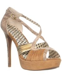 Jessica Simpson - Brouge Ankle Strap Platform Pumps, Dark Camel Combo - Lyst