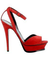 Saint Laurent - Women's Red Leather Sandals - Lyst