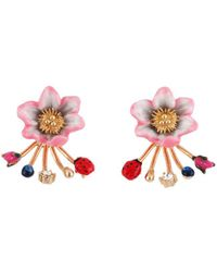 Les Nereides - Oriental Rose Light Pink Flower And Multi Elements Removable Clasp Earrings - Lyst