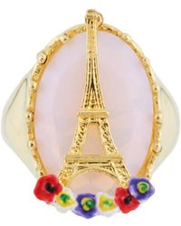 Les Nereides - From Paris With Love Eiffel Tower On A Flowerbed And Stone Ring - Lyst