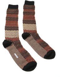 Missoni - Gm00cmu5683 0002 Tan/red Calf Length Socks - Lyst