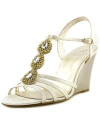 Adrianna Papell - Lacee Women Open Toe Canvas Gold Wedge Sandal - Lyst