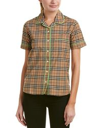 Burberry - Contrast Piping Check Pajama Shirt - Lyst