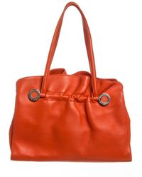 BVLGARI - Orange Leather Twist Shoulder Bag - Lyst