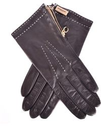 Burberry - Women's Black Leather Gloves - Lyst