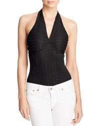 Guess - Womens Lyssa Textured Halter Bodysuit - Lyst