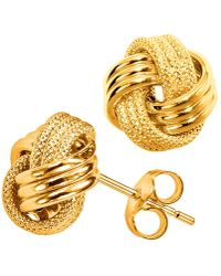 Jewelry Affairs - 14k Yellow Gold Shiny And Textured Triple Row Love Knot Stud Earrings, 13mm - Lyst
