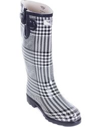 Forever Young - Women's Tall Rubber Plaid Black And White Rain Boots - Lyst