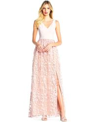 Adrianna Papell - Color Block Gown With Petal Embroidered Tulle Skirt - Lyst