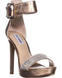 b142d129fea Lyst - Steve Madden Faymuss Platform Sandals in Metallic