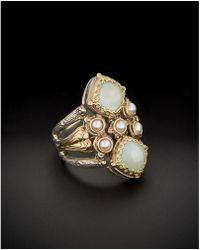Konstantino - Amphitrite 18k & Silver 3.00 Ct. Tw. Agate & 3mm Pearl Ring - Lyst