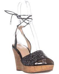 Guess - Wedinna2 Peep Toe Casual Platform Sandals, Black Multi - Lyst