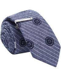 Skinny Tie Madness - Men's Grey Printed Skinny Tie With Tie Clip - Lyst
