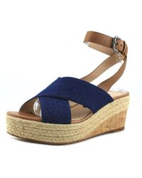 French Connection - Liora Women Open-toe Leather Blue Slingback Heel - Lyst