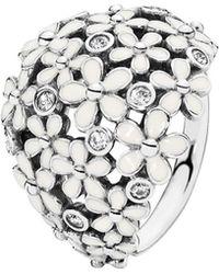 PANDORA - Silver Cz & Enamel Daisy Ring - Lyst