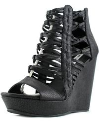 Not Rated - Cecil Women Open Toe Synthetic Black Wedge Sandal - Lyst