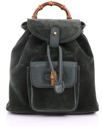 Gucci - Pre Owned Vintage Bamboo Backpack Suede Mini - Lyst
