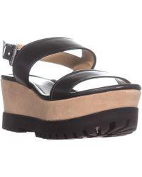 Michael Kors - Michael Gillian Mid Wedge Platform Sandals, Black - Lyst