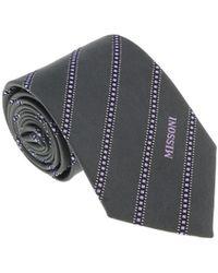 Missoni - U5692 Gray/lavender Repp 100% Silk Tie - Lyst