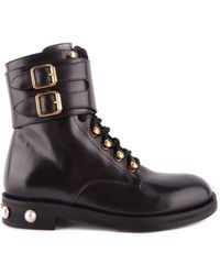 Pinko - Women's Black Leather Ankle Boots - Lyst
