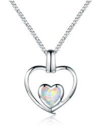 Peermont - 18k White Gold Plated Fire Opal Double Heart Pendant Necklace - Lyst