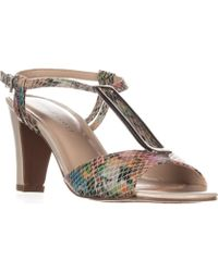 Karen Scott - Ks35 Lorah Metal T-strap Dress Sandals, White Multi - Lyst