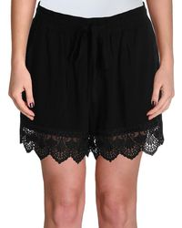 Aqua - Womens Crochet Trim Elastic Band Dress Shorts - Lyst