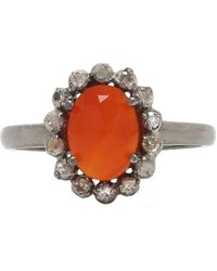 Adornia - Carnelian And Champagne Diamond Genevieve Ring - Lyst