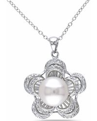 Catherine Malandrino - Freshwater Cultured Pearl And Cubic Zirconia Pendant W/chain - Lyst